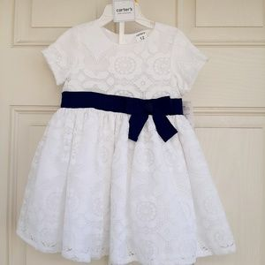NWT Carters Whit Lace Dress